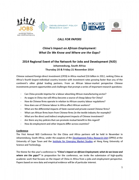REMINDER: Call for Papers: China in Africa Conference 2014